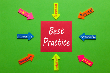 Best Practice diagram with note and words on paper arrows on green background. Business Concept.