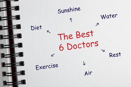 The best 6 doctors: sunshine, water, rest, air, exercise, and diet. Medical concept.