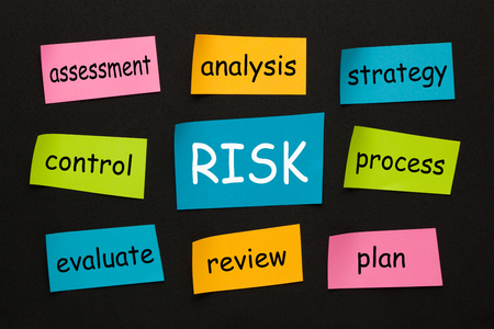 RISK concept with words on colorful stickers on black background. Business concept.
