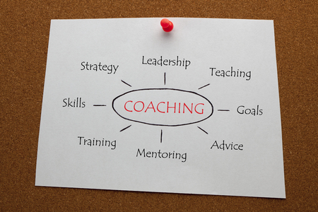 COACHING diagram on white paper sheet pinned on cork board. Business concept