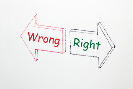 Right and Wrong text written in two arrows on a white background.