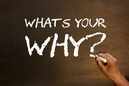 Whats Your Why question handwriting with chalk on blackboard. Business concept. Stock Photo