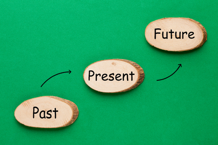 Past Present Future text with wooden ellipse in the shape of a staircase. Time Progress Concept Standard-Bild - 116502400