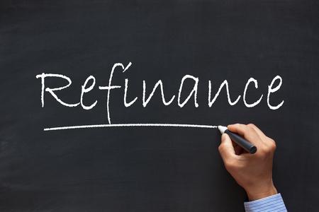 Refinanzierung Handschrift mit Kreidemarker auf Tafel. Geschäftskonzept.