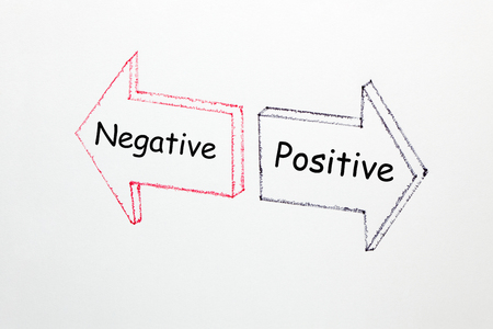 Positive Vs Negative words written in two arrows on a white background. Business Concept.
