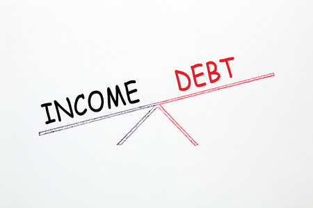 Drawing scale with opposite words Debt-to-Income on white background. Business concept