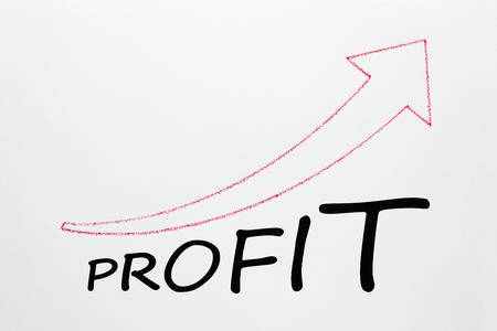 Word PROFIT under ascending arrow on white background. Business Concept.