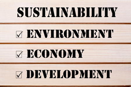 Sustainability with conceptual words economy, environment and development written on wood wall decor.