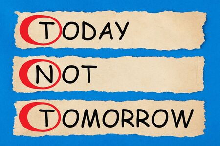 Today Not Tomorrow (TNT) text on torn pieces of paper. Acronym business concept