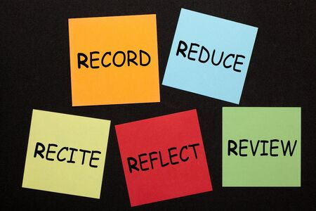 Note-taking methods for students. Record, Reduce, Recite, Reflect, Review.