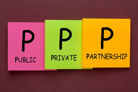 Public-Private Partnership (PPP) acronym on colorful note in the shape of a staircase. Business concept.