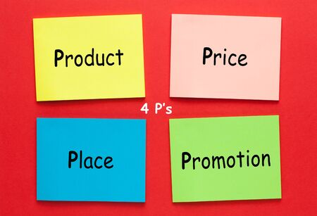 Marketing mix 4P(product, price, place, promotion) written on colored notes. Business concept.
