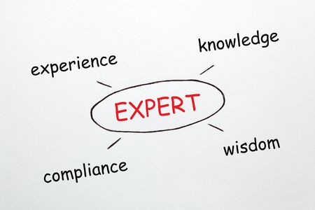 Expert diagram with conceptual words on white background. Business concept.