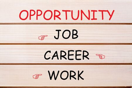 Opportunity with conceptual words job, career and work  written on wood wall decor.