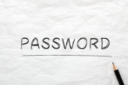The word Password highlighted with pencil on wrinkled lined paper. Business concept. 写真素材