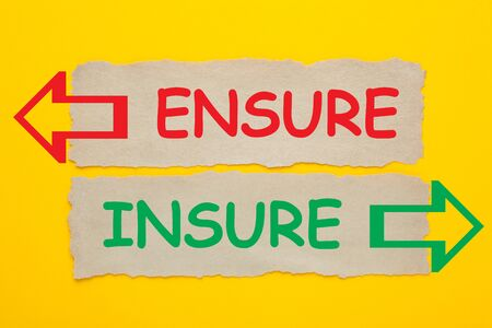 The words Ensure and Insure written on old paper on yellow background.