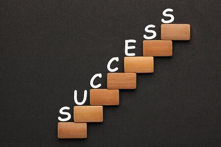 Word Success with wooden blocks in the shape of a staircase.