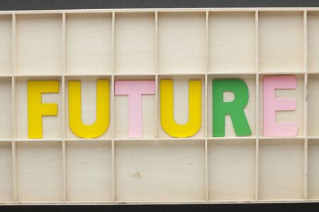 The word Future made of colorful alphabet letters on wooden surface.