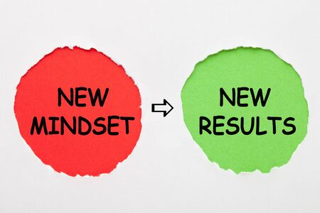 New Mindset and New Results text in red and green circles on white background. Business concept.