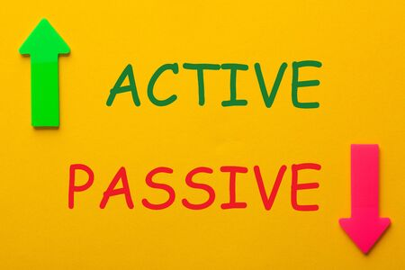The words Active and Passive with opposite arrows on a yellow background.