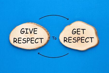 Deux ellipses en bois avec texte Give Respect to Get Respect sur fond bleu. Notion de motivation.
