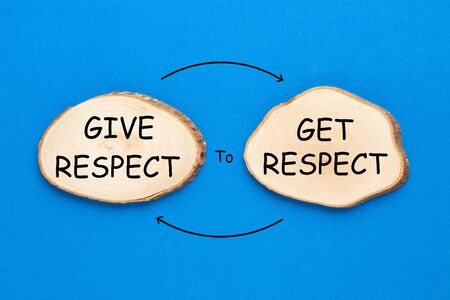 Two wooden ellipse with text Give Respect to Get Respect on blue background. Motivation concept.