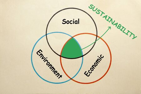 Diagram of social, environment and economic to explain the intersection of Sustainability.