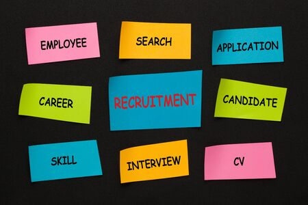 Recruitment with conceptual words on colorful stickers on black background. Business concept.