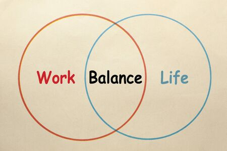 Diagram of work, life and balance area in 2 circles on old paper sheet. Zdjęcie Seryjne