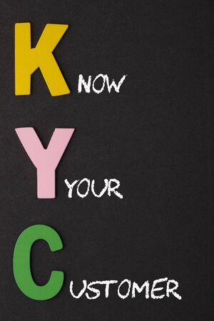 Know Your Customer (KYC)  text spelled with alphabet letters on black background. Acronym business concept.