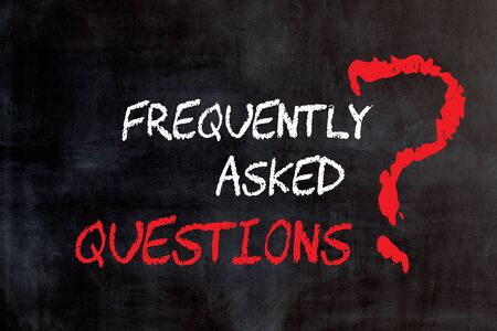 Text Frequently Asked Questions written on blackboard. Customer FAQ. Stockfoto - 130627418