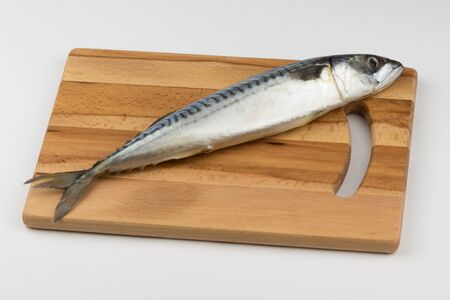 Fresh mackerel fish on a cutting board. Фото со стока - 131982038