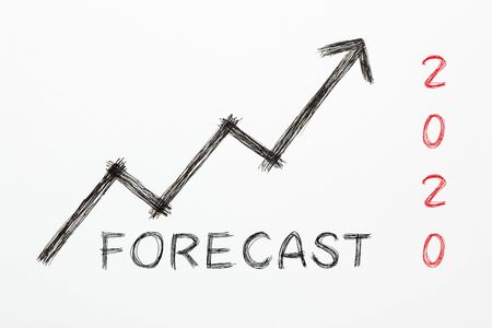 Text Forecast 2020 with growth arrow on white background. Business Concept Фото со стока