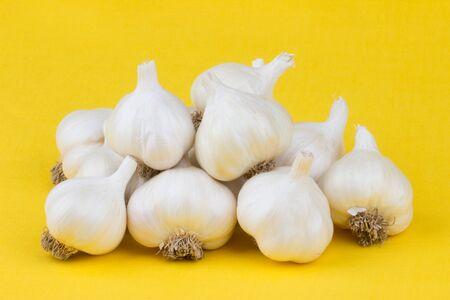 Garlic bulbs arranged on a yellow tablecloth.