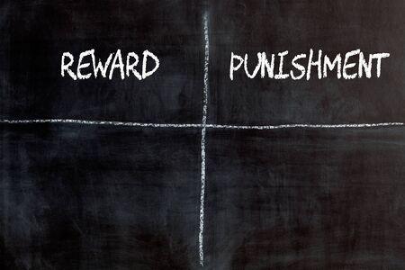 Reward vs. Punishment written on blackboard. Business concept. Empty list