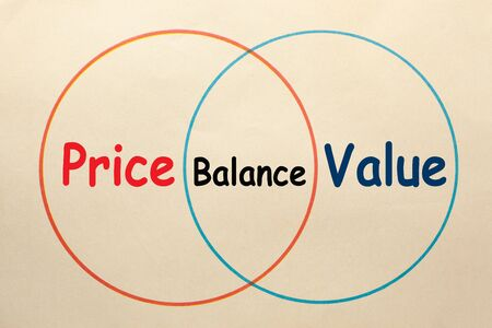 Diagram of price, value and balance area in 2 circles on old paper sheet. Stockfoto - 132487178