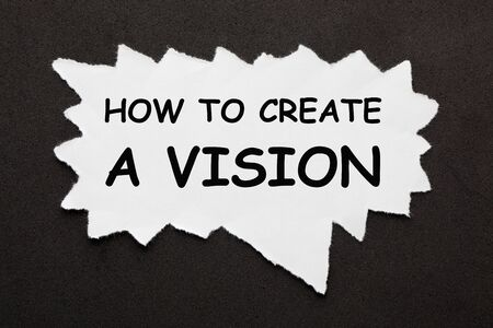 How to Create a Vision question on torn piece of paper over black surface. Stockfoto - 132018546