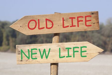The Old Life and the New Life text on wooden road sign with left and right arrows. Stockfoto