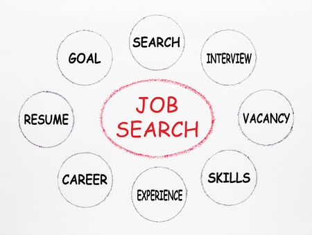 Job search concept with keywords written in ellipse and set circle on white background. Business concept. Stockfoto