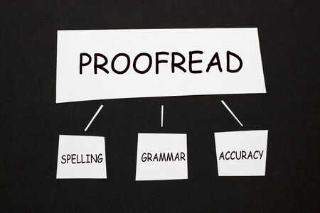 Proofread Spelling Grammar Accuracy diagram on black background. Business concept. 版權商用圖片
