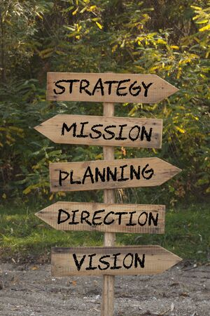 The words Strategy, Mission, Planning, Direction and Vision on wooden direction arrow roadsign with forest background. Stockfoto