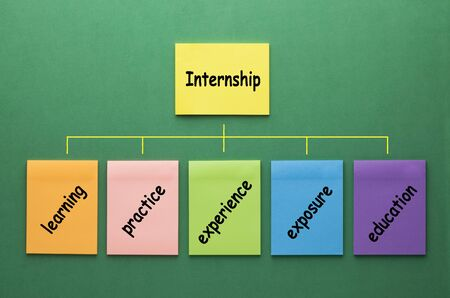 Internship flowchart made of set notes with keywords on green background.