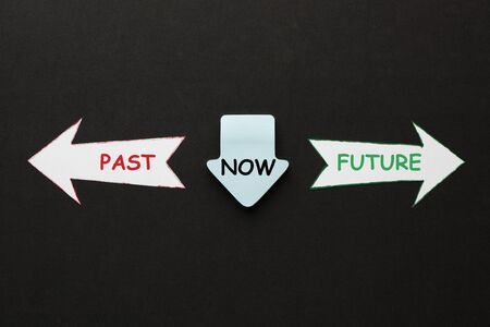 The words Past Now Future in paper arrows on black background. Business Concept. Фото со стока