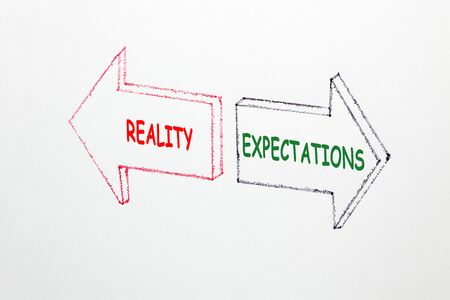 The words Reality vs Expectations written in two arrows on a white background. Business concept.