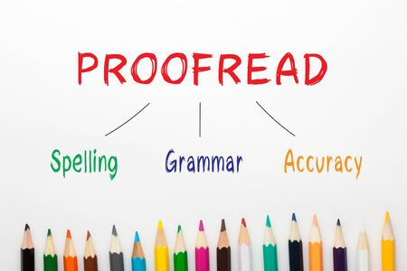 Proofread Spelling Grammar Accuracy diagram and colored pencils on a white background.
