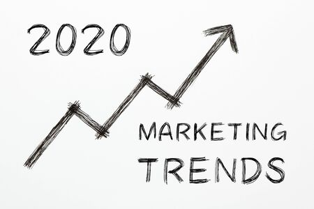 Text 2020 Marketing Trends with growth arrow on white background. Business concept