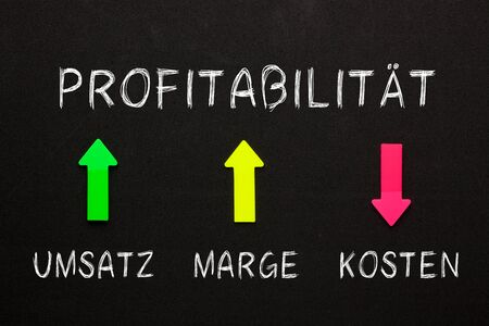 Profitability diagram with conceptual words profitability, costs, revenue and margin in German on black background. Business concept