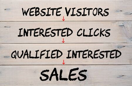Diagram website sales on wood planks. Business concept.