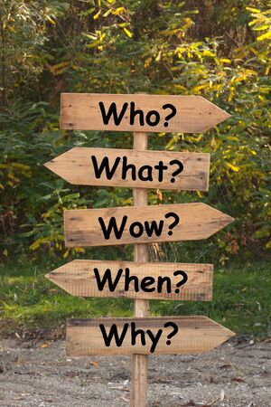 The Five Ws are questions whose answers are considered basic in information gathering or problem solving. Standard-Bild