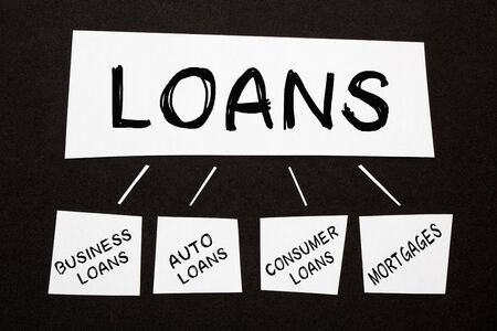 Loans diagram with conceptual words on black background. Business concept.